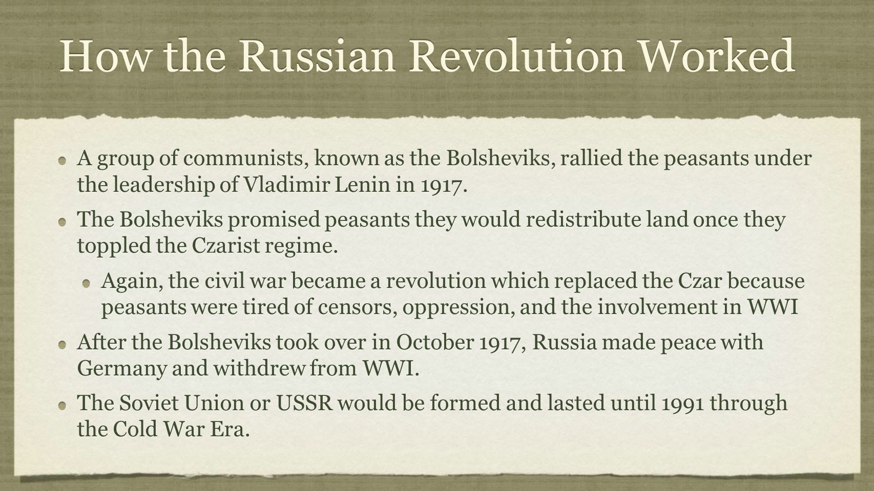 How the Russian Revolution Worked A group of communists, known as the Bolsheviks, rallied the peasants under the leadership of Vladimir Lenin in 1917.
