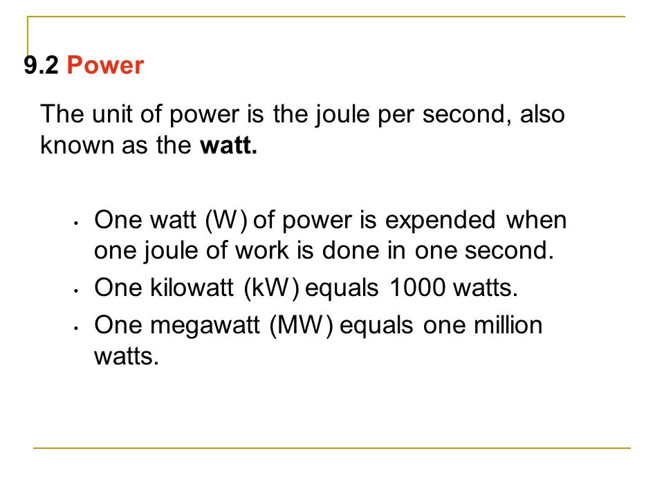 A high-power engine does work rapidly. An engine that delivers twice the power of another engine does not necessarily produce twice as much work or go