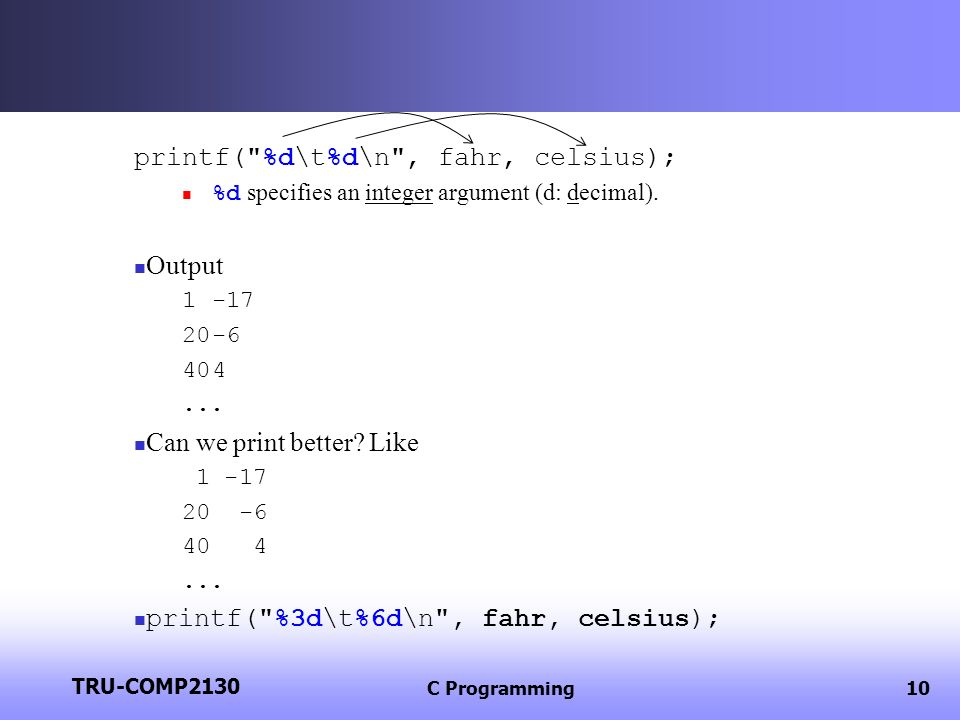 TRU-COMP2130 C Programming11 1 -17 20 -6 40 4...Is there any problem in the above output.