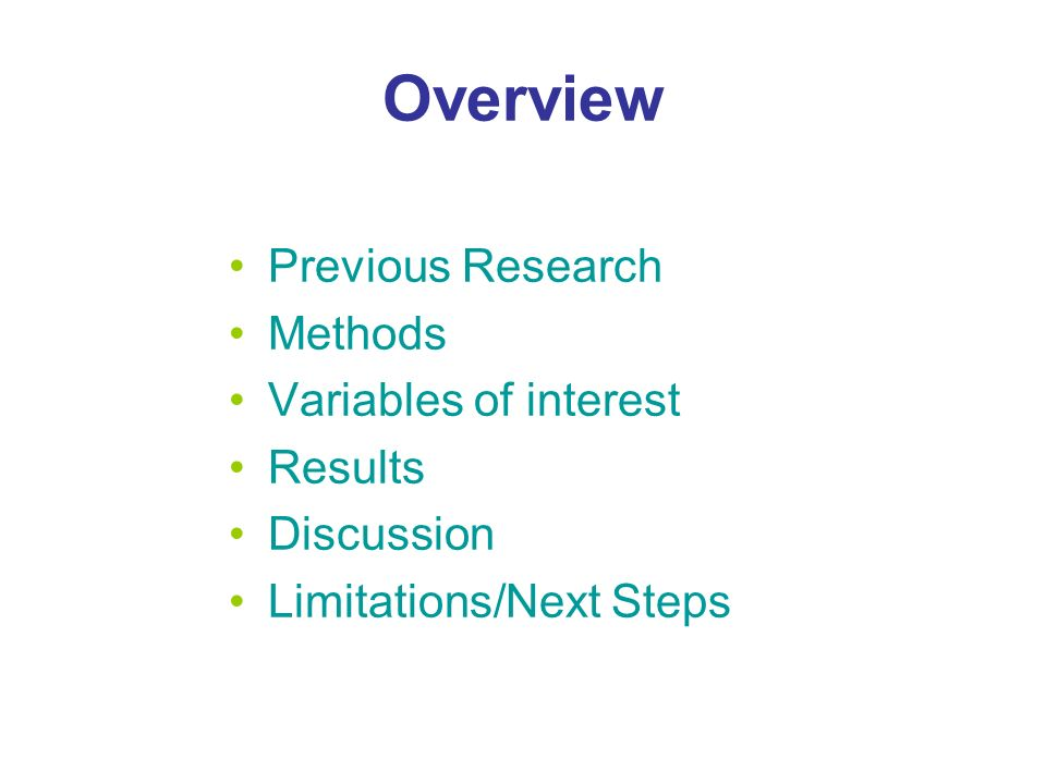 Overview Previous Research Methods Variables of interest Results Discussion Limitations/Next Steps