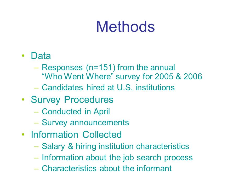 Methods Data –Responses (n=151) from the annual Who Went Where survey for 2005 & 2006 –Candidates hired at U.S.