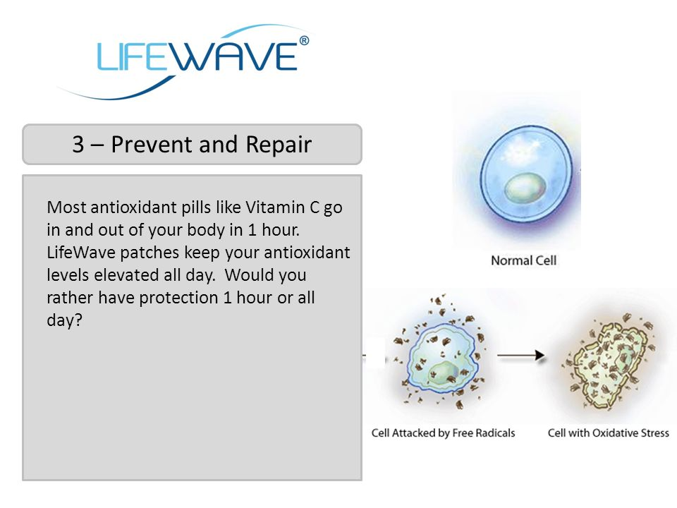 Most antioxidant pills like Vitamin C go in and out of your body in 1 hour. LifeWave patches keep your antioxidant levels elevated all day. Would you