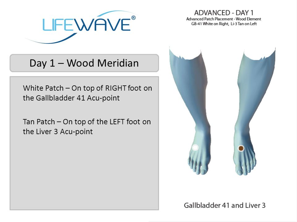 Day 1 – Wood Meridian White Patch – On top of RIGHT foot on the Gallbladder 41 Acu-point Tan Patch – On top of the LEFT foot on the Liver 3 Acu-point