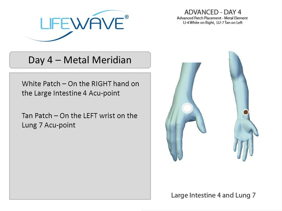 Day 4 – Metal Meridian White Patch – On the RIGHT hand on the Large Intestine 4 Acu-point Tan Patch – On the LEFT wrist on the Lung 7 Acu-point