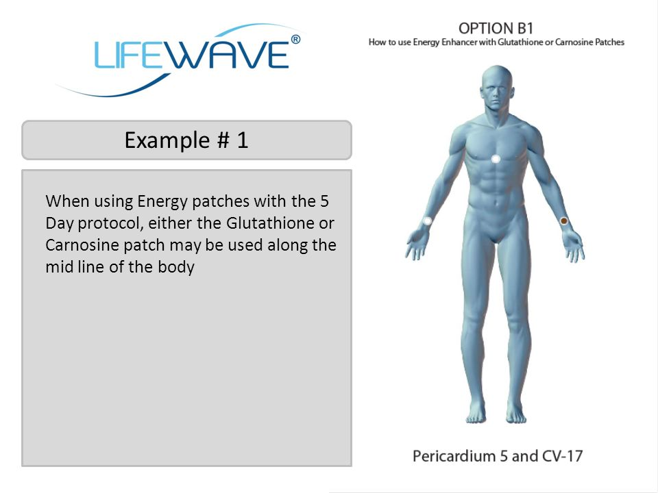 Example # 1 When using Energy patches with the 5 Day protocol, either the Glutathione or Carnosine patch may be used along the mid line of the body