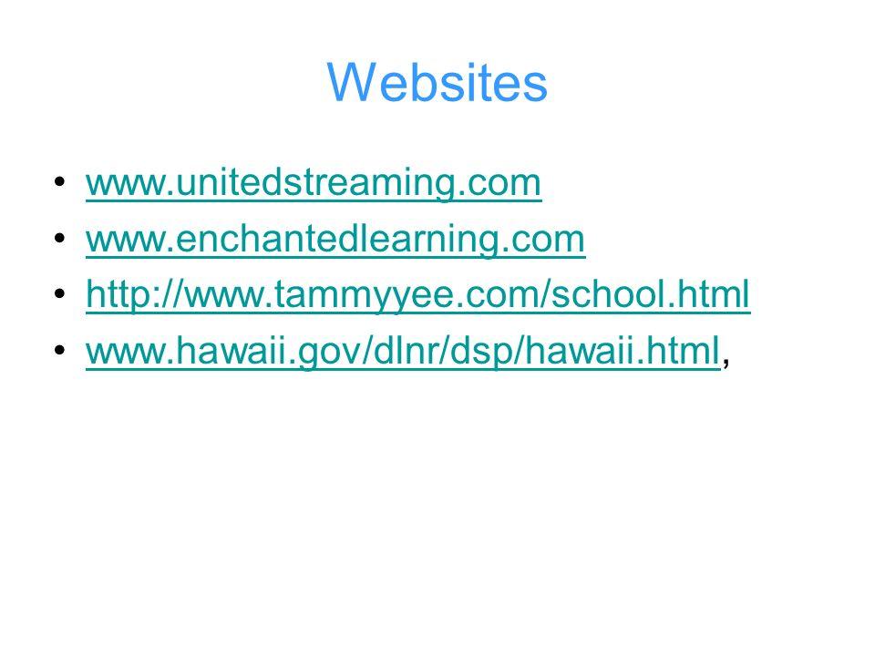Websites www.unitedstreaming.com www.enchantedlearning.com http://www.tammyyee.com/school.html www.hawaii.gov/dlnr/dsp/hawaii.html,www.hawaii.gov/dlnr