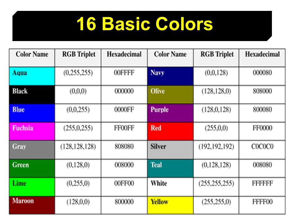 15 16 Basic Colors