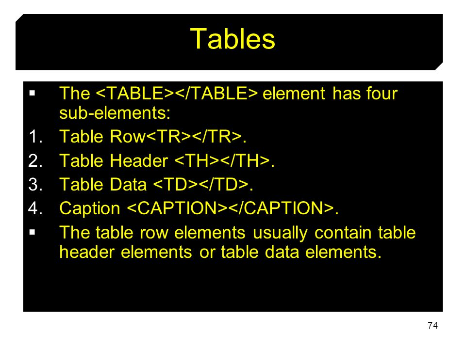 74 Tables The element has four sub-elements: 1.Table Row. 2.Table Header. 3.Table Data. 4.Caption. The table row elements usually contain table header