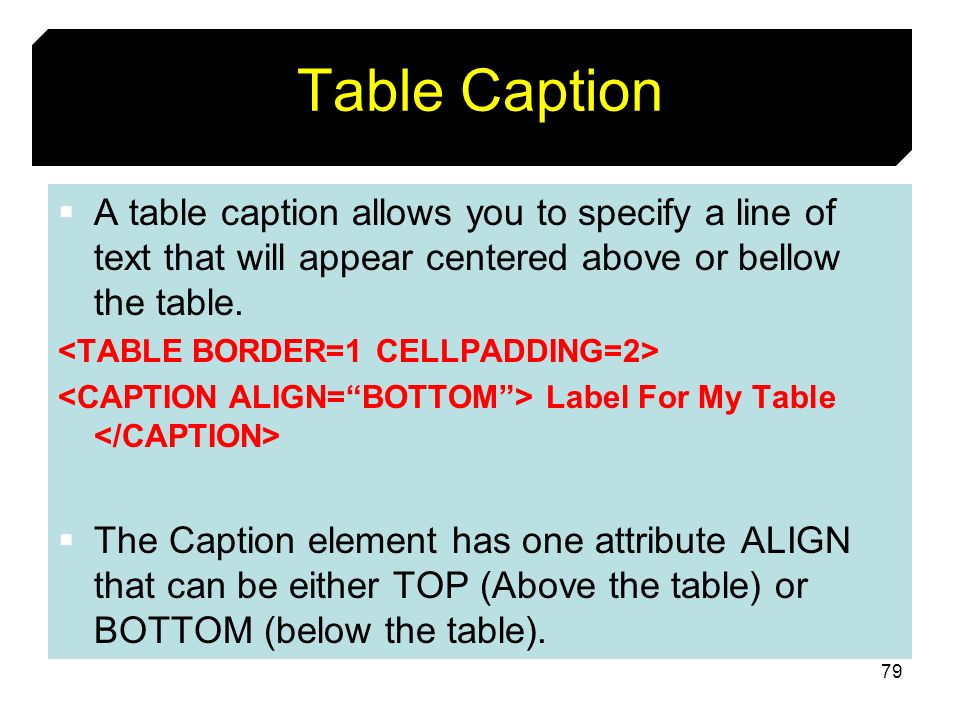 79 Table Caption A table caption allows you to specify a line of text that will appear centered above or bellow the table. Label For My Table The Capt