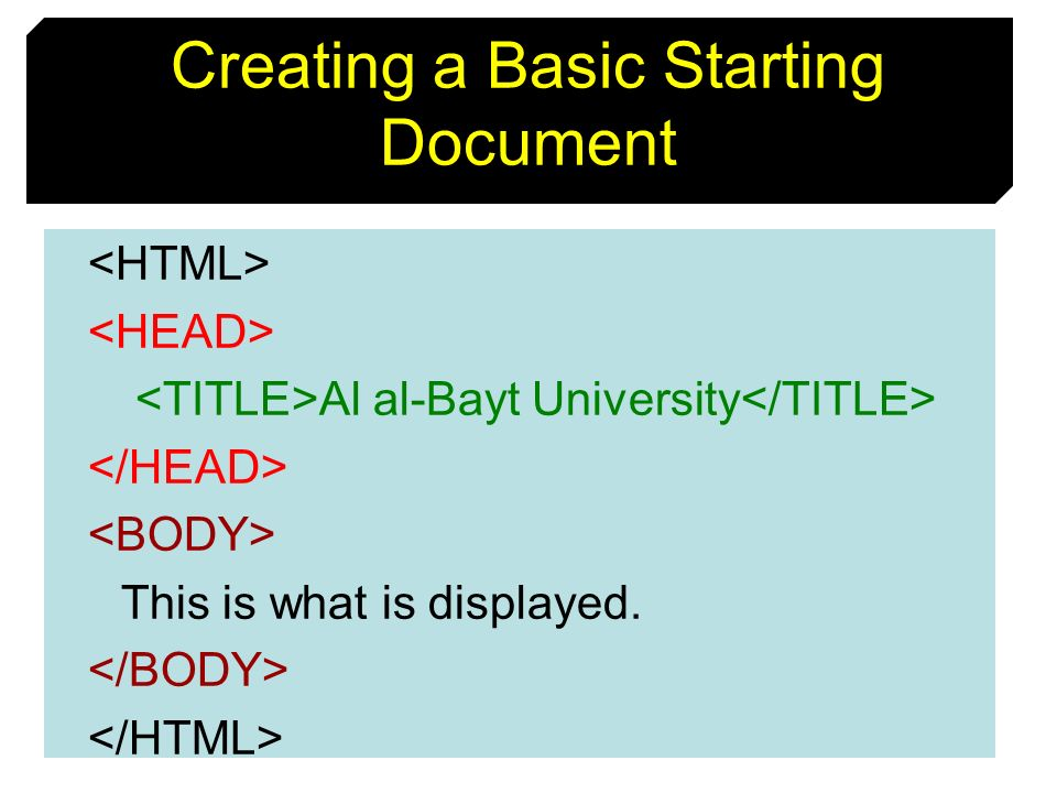 9 Creating a Basic Starting Document Al al-Bayt University This is what is displayed.