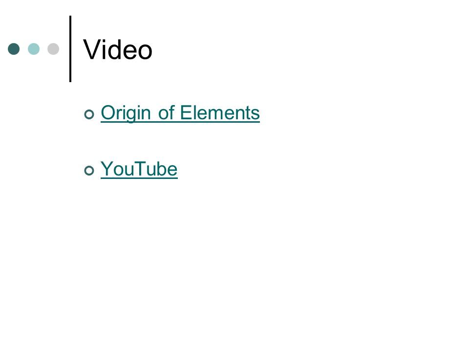 Video Origin of Elements YouTube