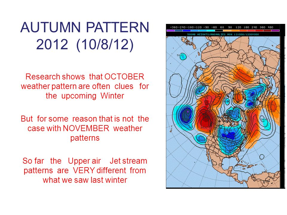 AUTUMN PATTERN 2012 (10/8/12) Research shows that OCTOBER weather pattern are often clues for the upcoming Winter But for some reason that is not the case with NOVEMBER weather patterns So far the Upper air Jet stream patterns are VERY different from what we saw last winter