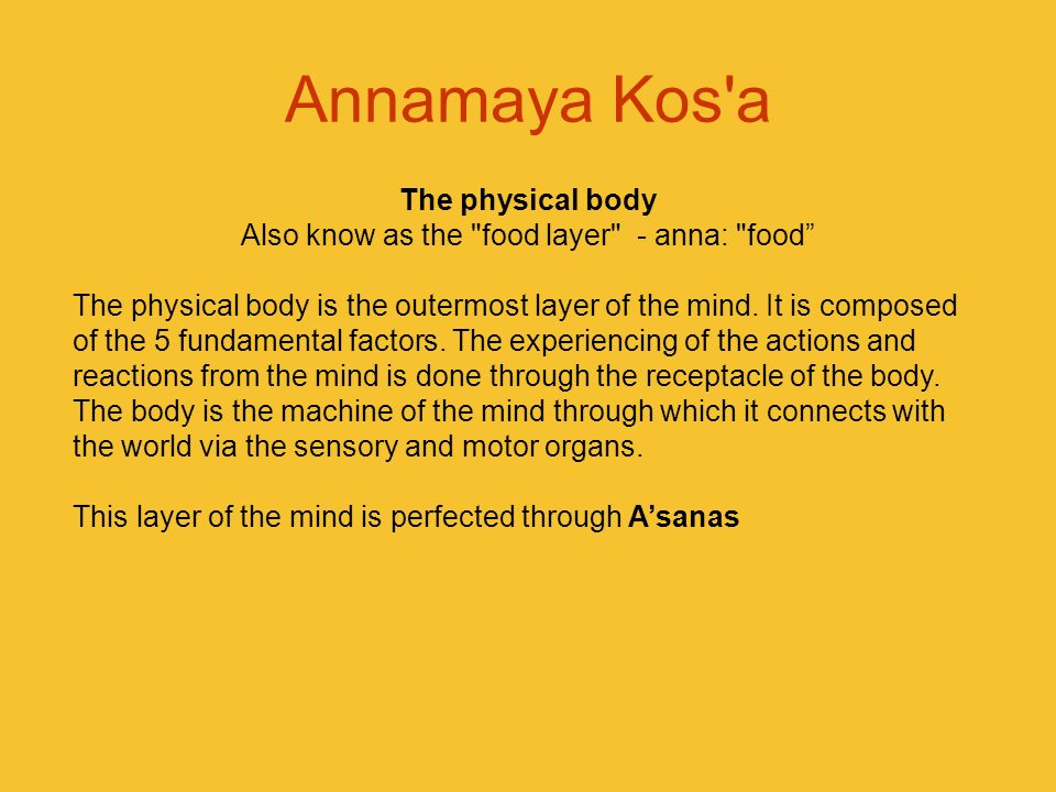 Annamaya Kos'a The physical body Also know as the