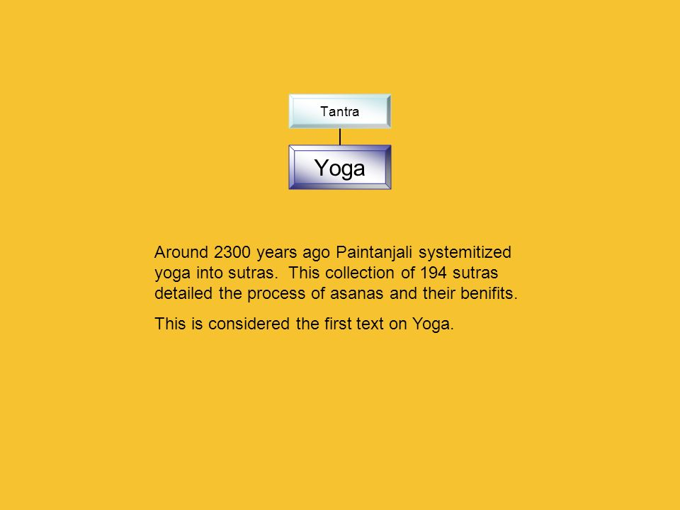 Tantra Yoga Around 2300 years ago Paintanjali systemitized yoga into sutras. This collection of 194 sutras detailed the process of asanas and their be