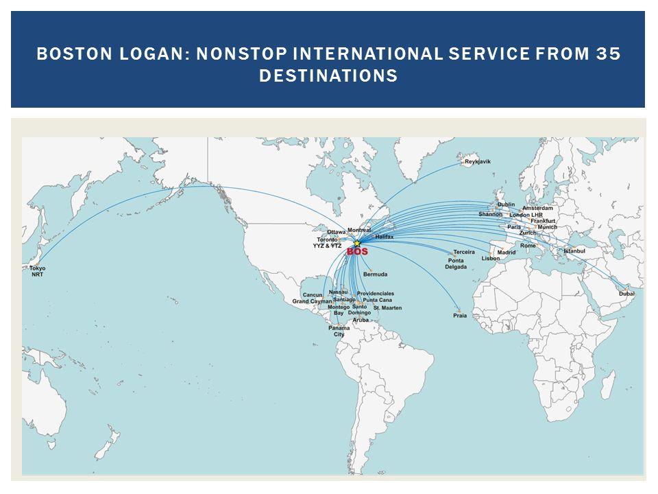 BOSTON LOGAN: NONSTOP INTERNATIONAL SERVICE FROM 35 DESTINATIONS