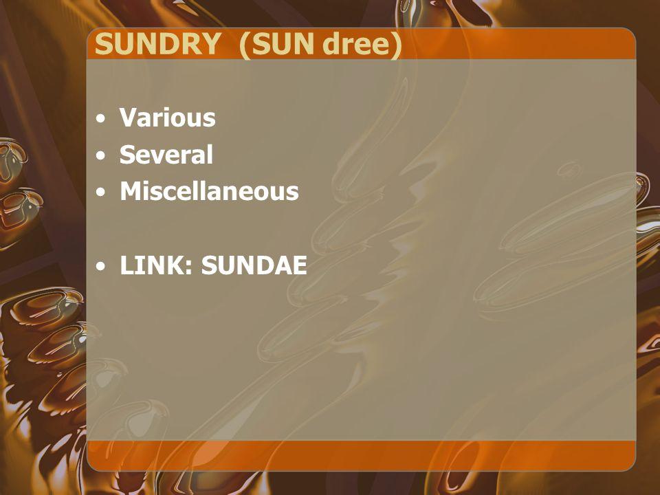 SUNDRY (SUN dree) Various Several Miscellaneous LINK: SUNDAE