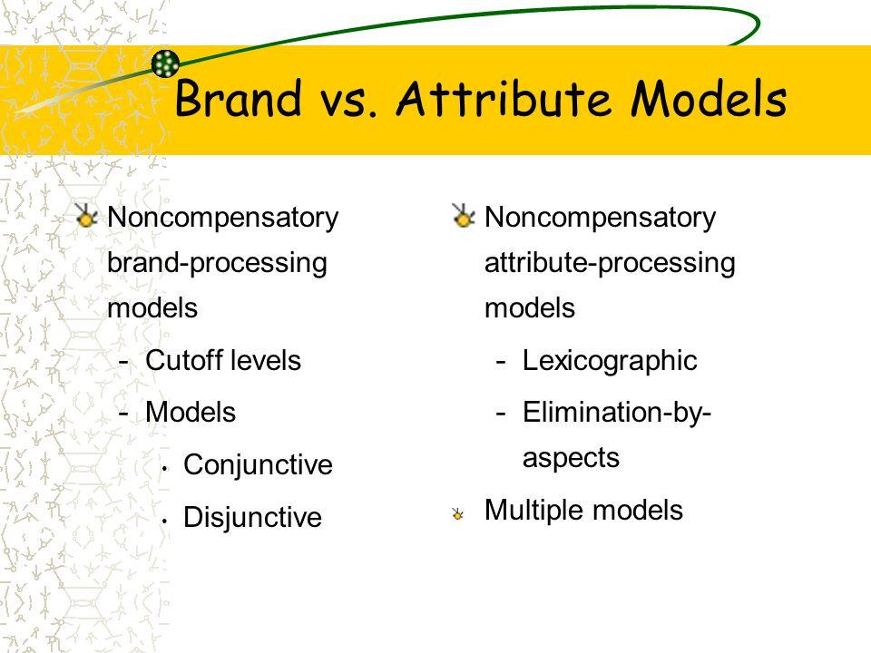 Brand vs. Attribute Models Noncompensatory brand-processing models - Cutoff levels - Models Conjunctive Disjunctive Noncompensatory attribute-processi