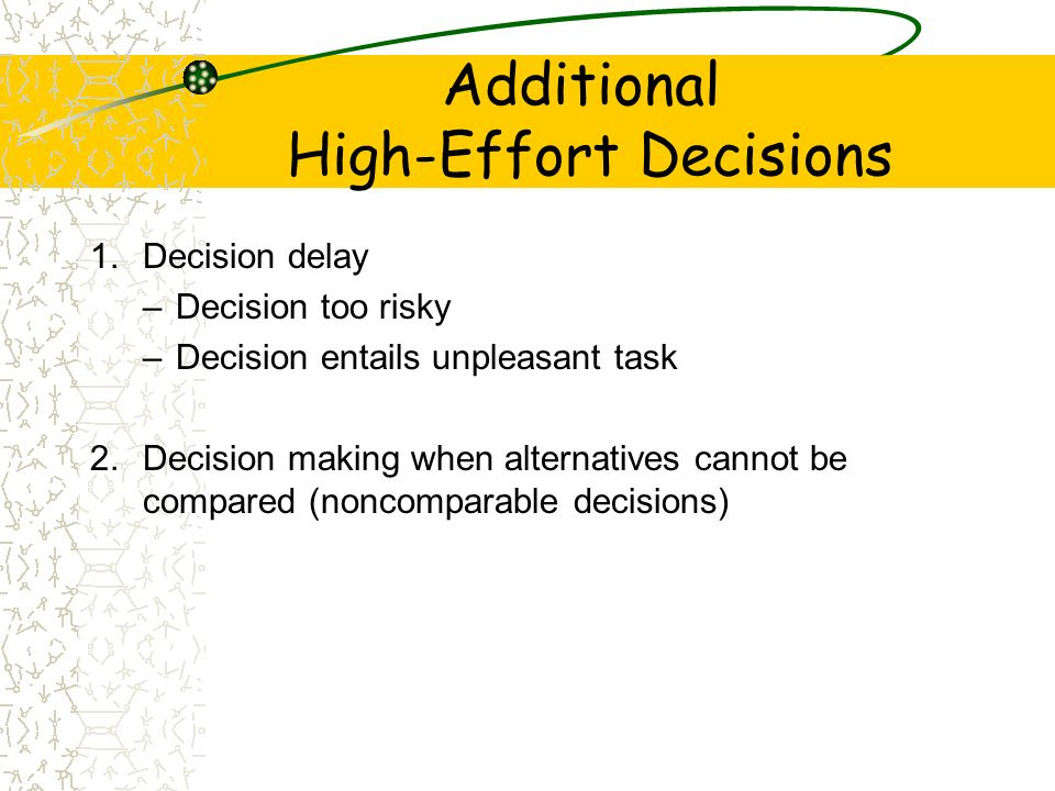 Additional High-Effort Decisions 1.Decision delay –Decision too risky –Decision entails unpleasant task 2.Decision making when alternatives cannot be