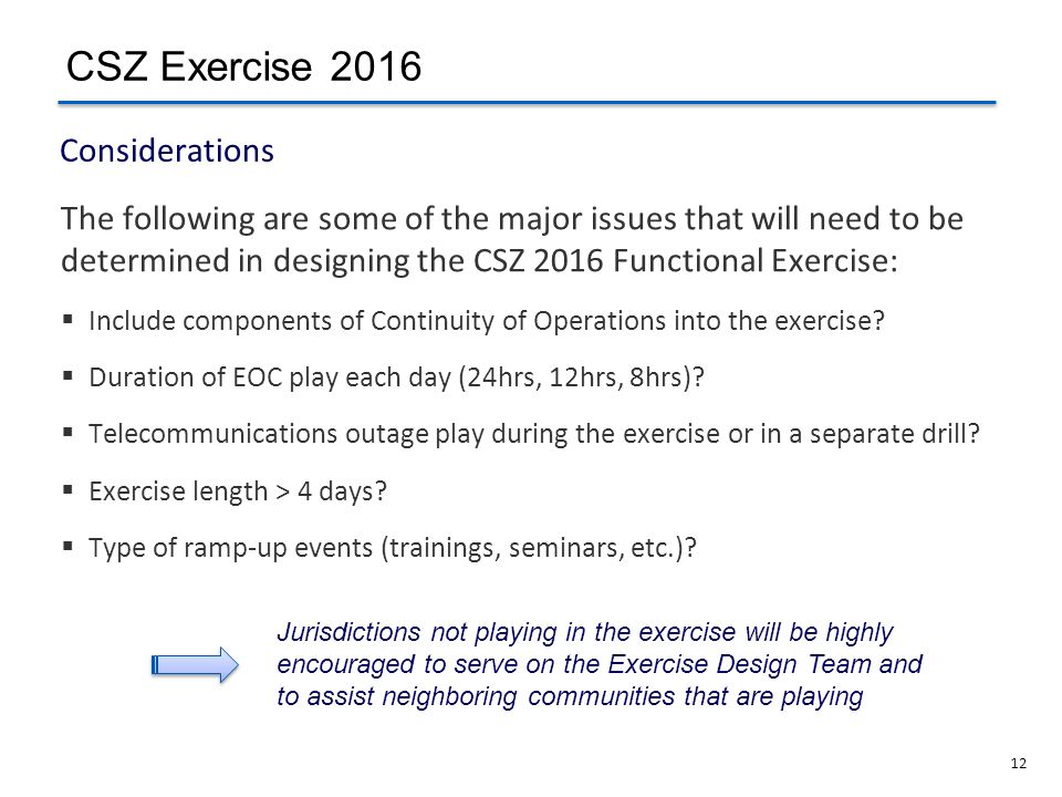 12 The following are some of the major issues that will need to be determined in designing the CSZ 2016 Functional Exercise: Include components of Con