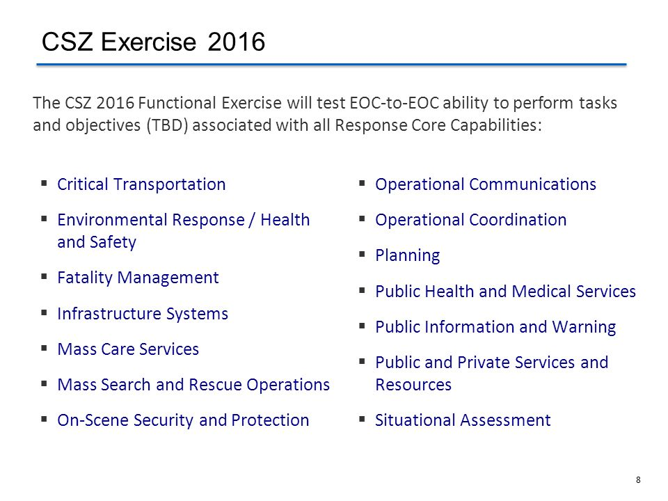 8 Critical Transportation Environmental Response / Health and Safety Fatality Management Infrastructure Systems Mass Care Services Mass Search and Res