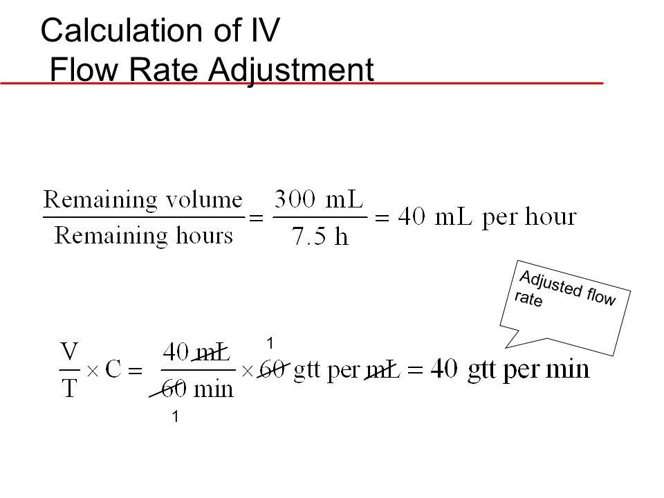 Calculation of IV Flow Rate Adjustment 1 1 Adjusted flow rate