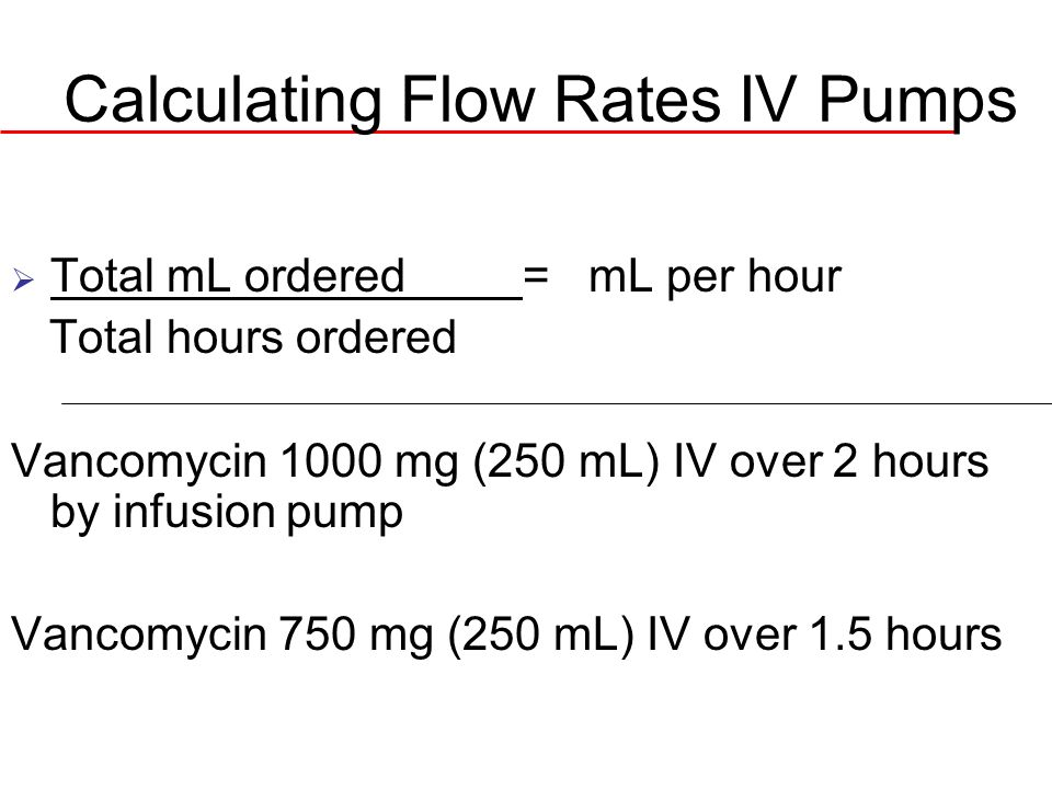 IV Flow Rate in mL per hour: Infusion Rate is less than 1 hour Total mL ordered X 60 min/hr = mL/hr Total min ordered Order: Ampicillin 500 mg IV in 50 mL NS over 30 minutes Order: Give Amiodarone 150mg in 100 ml of D5W over 10 minutes
