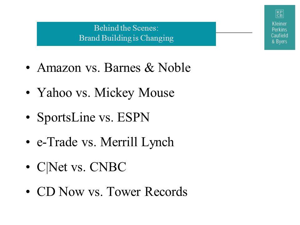 Behind the Scenes: Brand Building is Changing Amazon vs. Barnes & Noble Yahoo vs. Mickey Mouse SportsLine vs. ESPN e-Trade vs. Merrill Lynch C|Net vs.