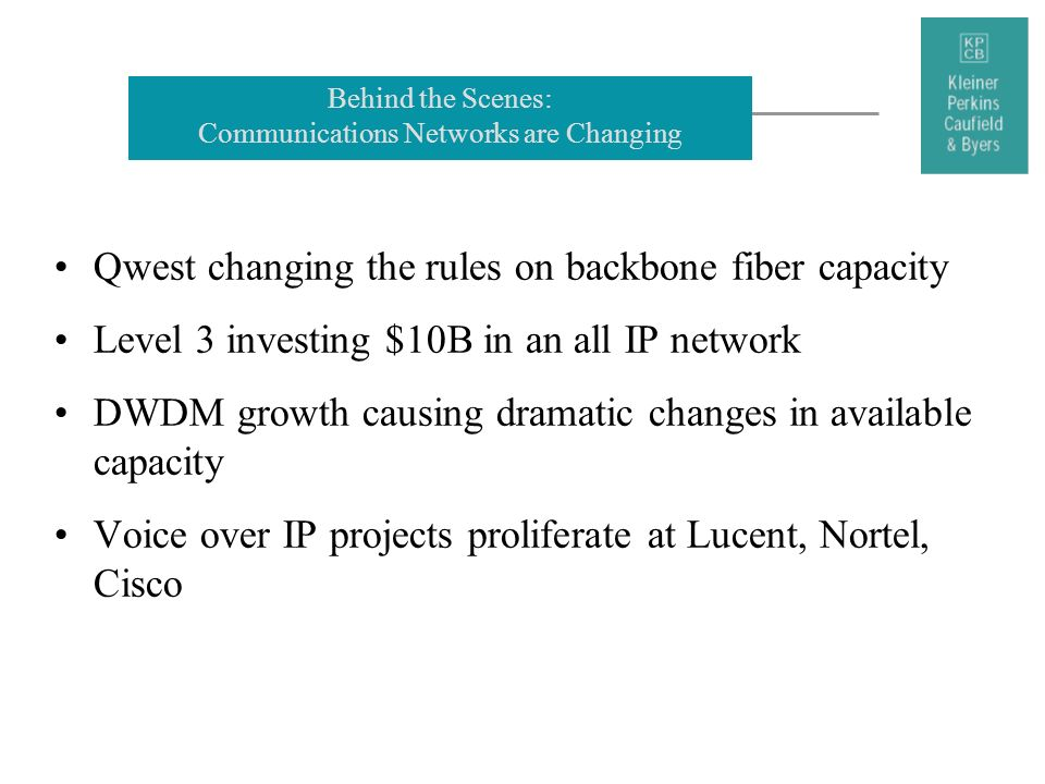 Behind the Scenes: Communications Networks are Changing Qwest changing the rules on backbone fiber capacity Level 3 investing $10B in an all IP networ