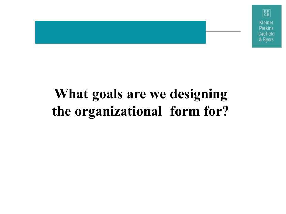 What goals are we designing the organizational form for?