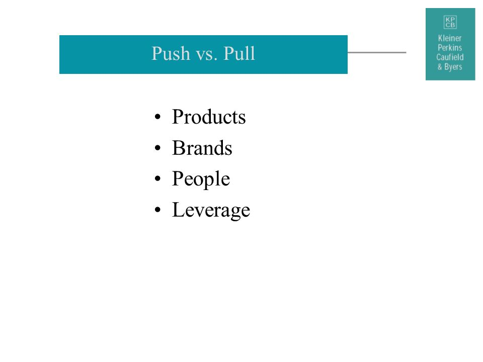 Push vs. Pull Products Brands People Leverage