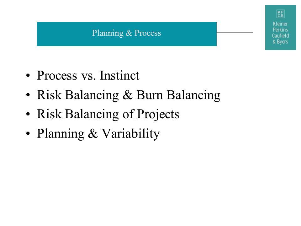 Planning & Process Process vs. Instinct Risk Balancing & Burn Balancing Risk Balancing of Projects Planning & Variability