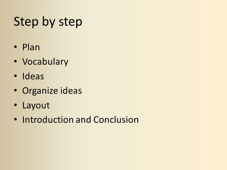 Step by step Plan Vocabulary Ideas Organize ideas Layout Introduction and Conclusion