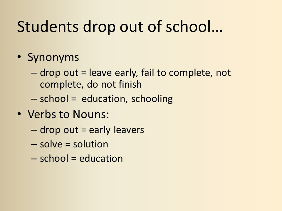 Students drop out of school… Synonyms – drop out = leave early, fail to complete, not complete, do not finish – school = education, schooling Verbs to