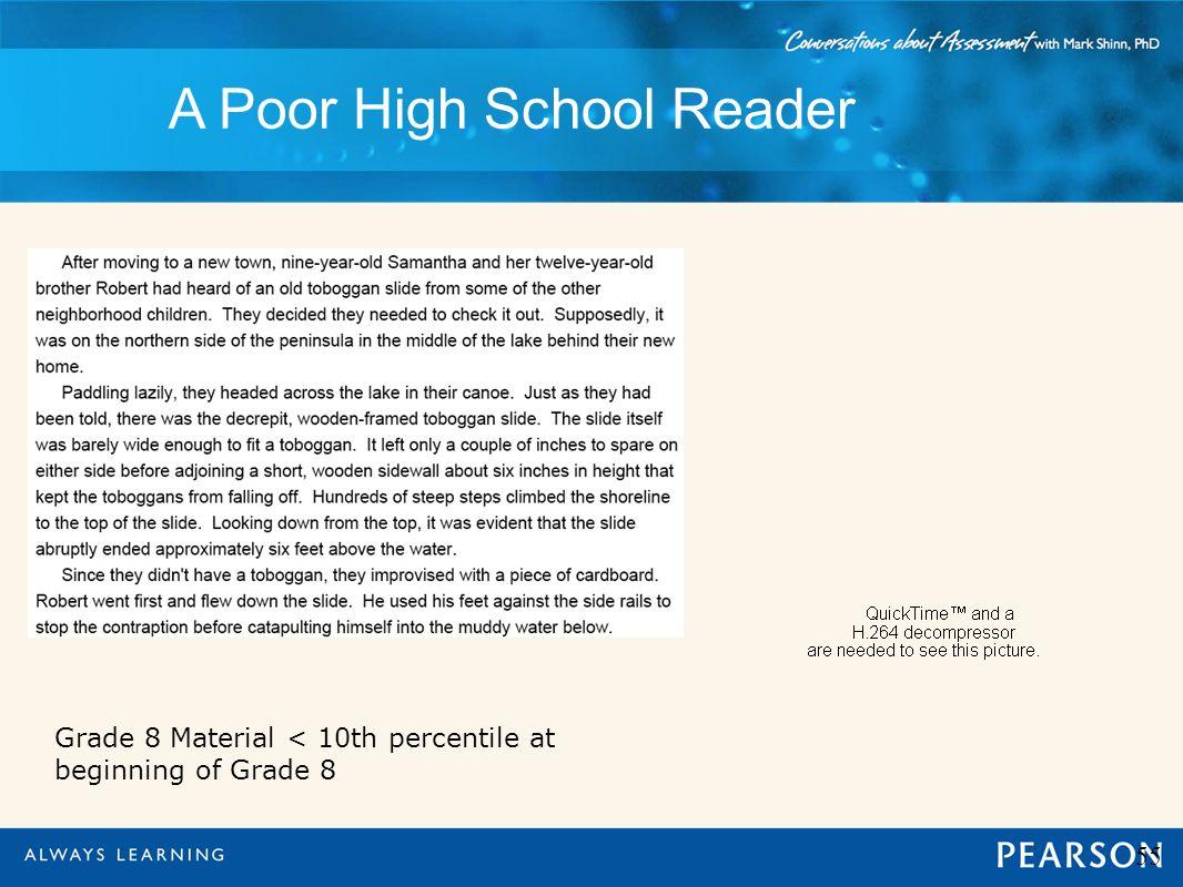 A Poor High School Reader 55 Grade 8 Material < 10th percentile at beginning of Grade 8