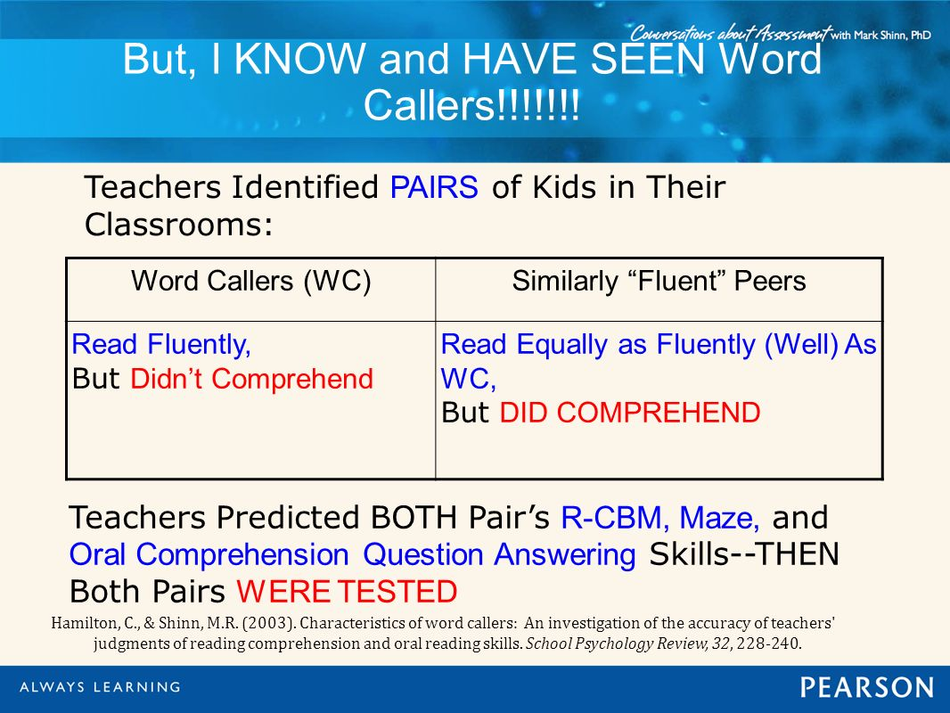 But, I KNOW and HAVE SEEN Word Callers!!!!!!! Teachers Identified PAIRS of Kids in Their Classrooms: Hamilton, C., & Shinn, M.R. (2003). Characteristi