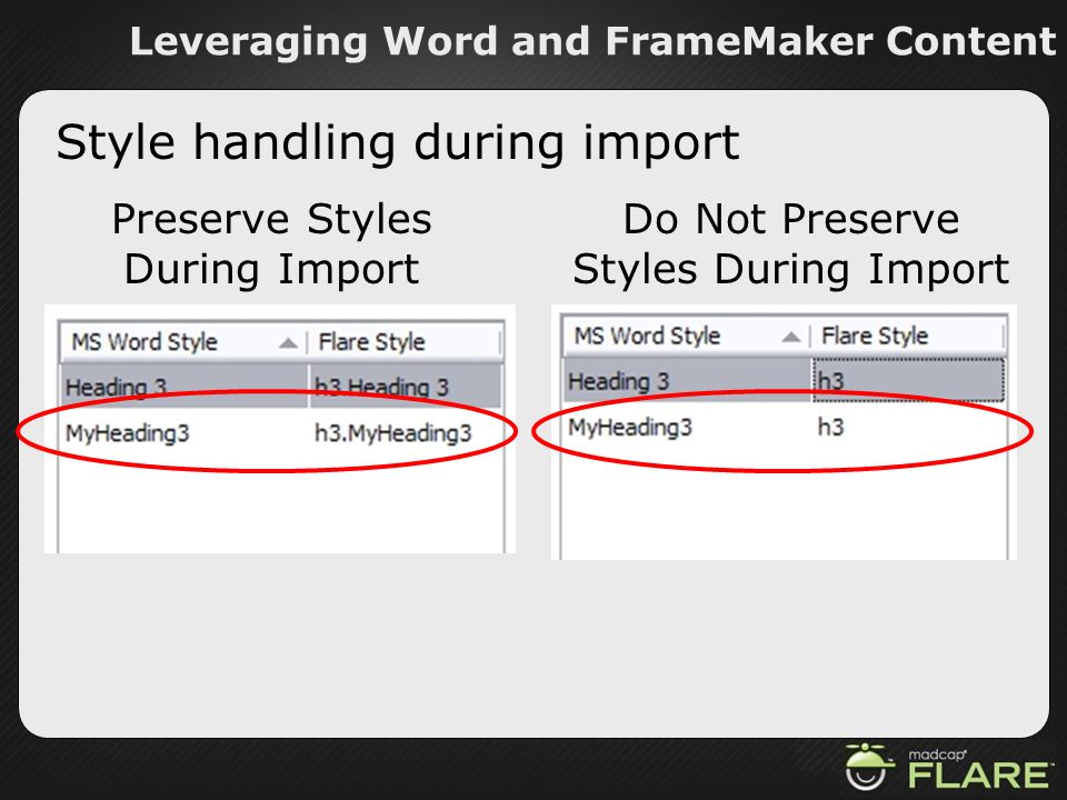 Leveraging Word and FrameMaker Content Style handling during import Preserve Styles During Import Do Not Preserve Styles During Import