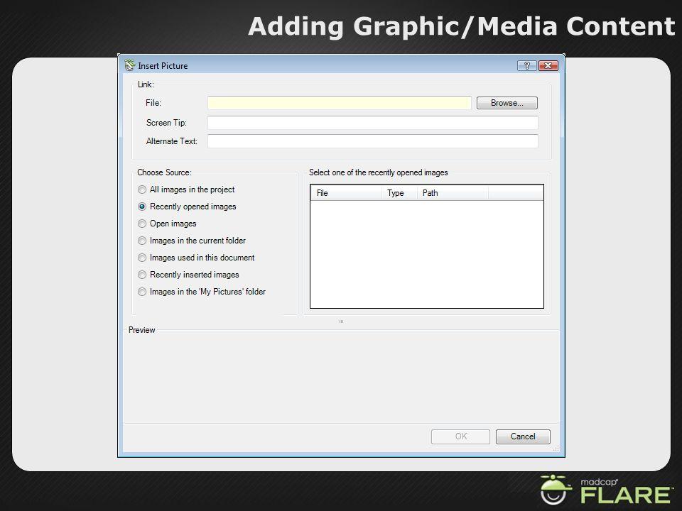 Adding Graphic/Media Content