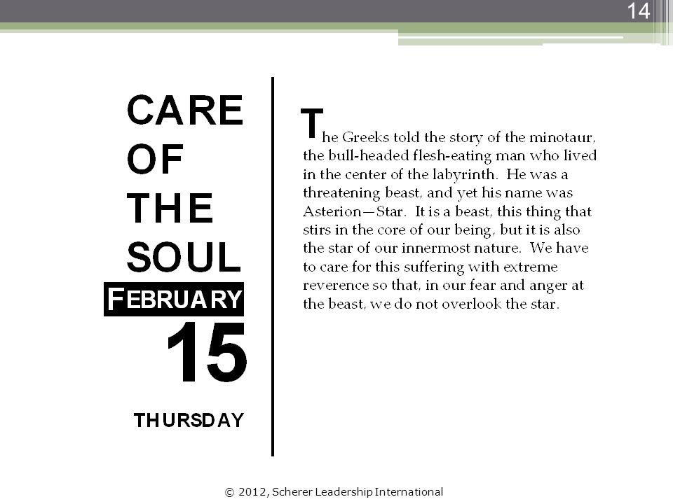 © 2012, Scherer Leadership International 14