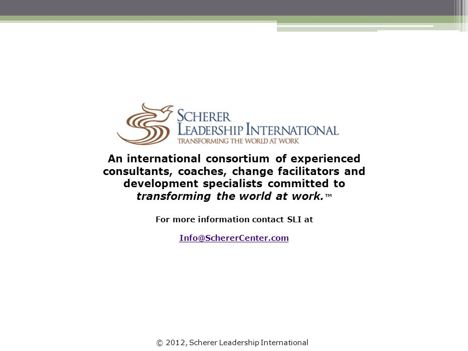 © 2012, Scherer Leadership International An international consortium of experienced consultants, coaches, change facilitators and development specialists committed to transforming the world at work.