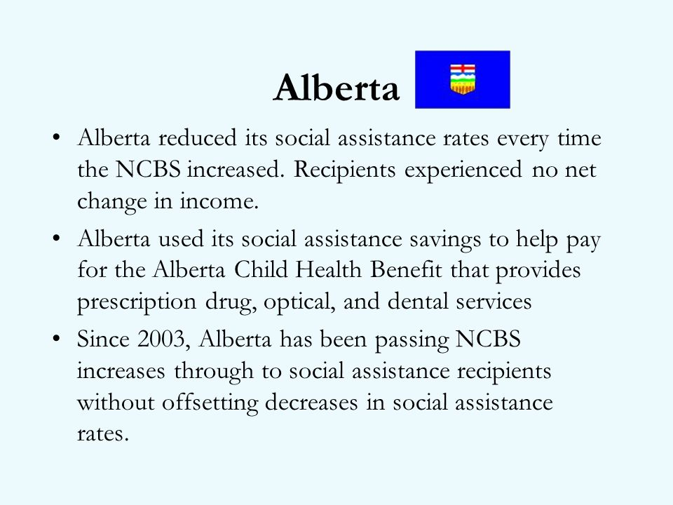 Alberta Alberta reduced its social assistance rates every time the NCBS increased.