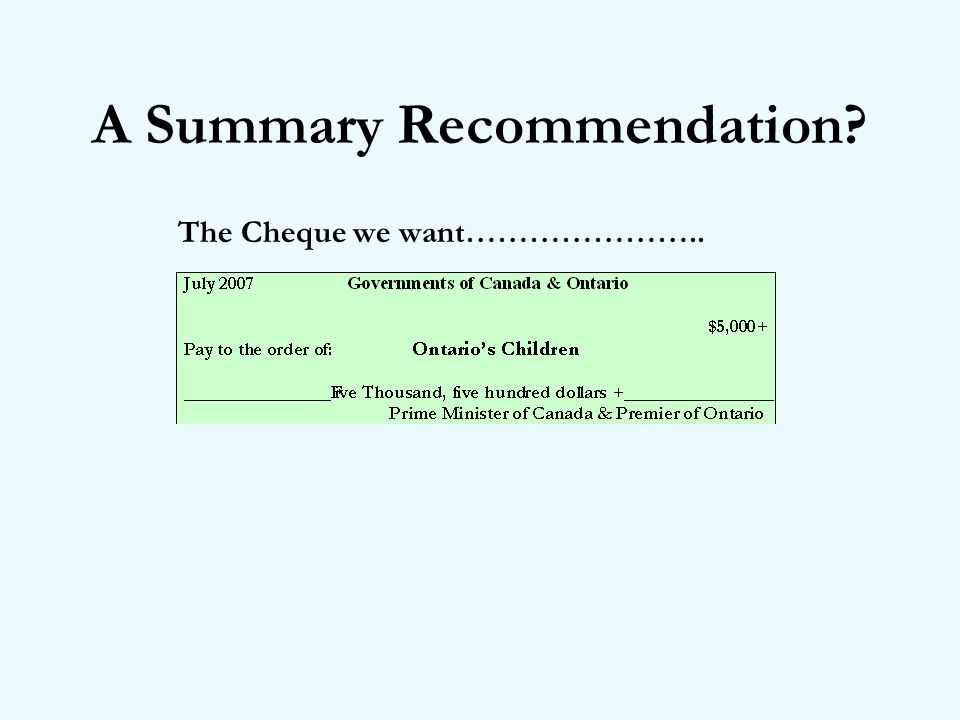 A Summary Recommendation The Cheque we want…………………..