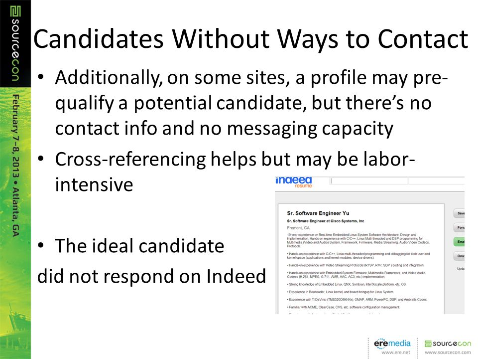 Candidates Without Ways to Contact Additionally, on some sites, a profile may pre- qualify a potential candidate, but theres no contact info and no me