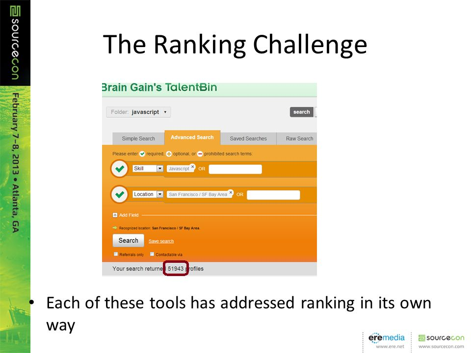 The Ranking Challenge Each of these tools has addressed ranking in its own way