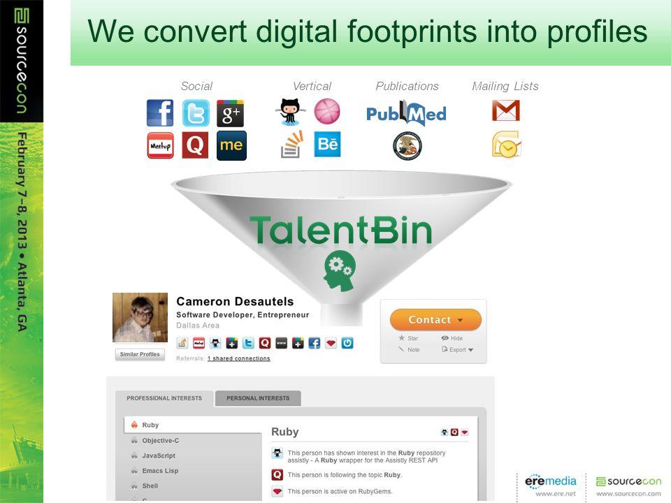 Mailing ListsPublicationsVerticalSocial We convert digital footprints into profiles