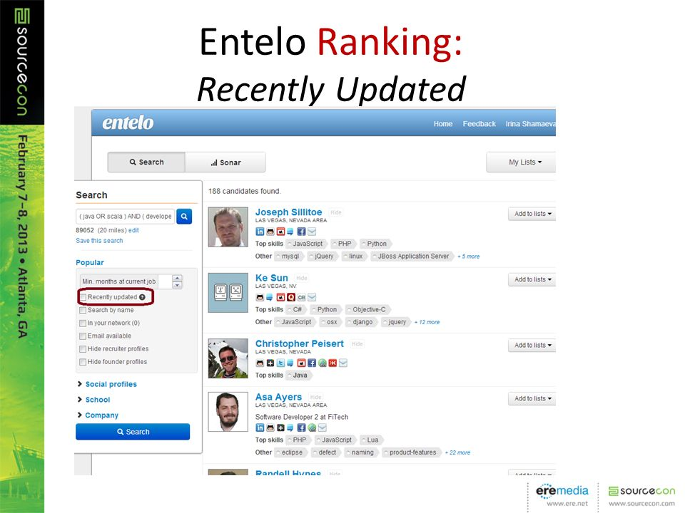 Entelo Ranking: Recently Updated