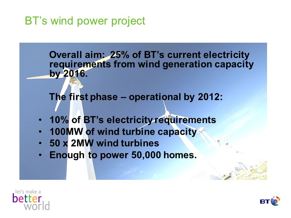 BTs wind power project Overall aim: 25% of BTs current electricity requirements from wind generation capacity by 2016.