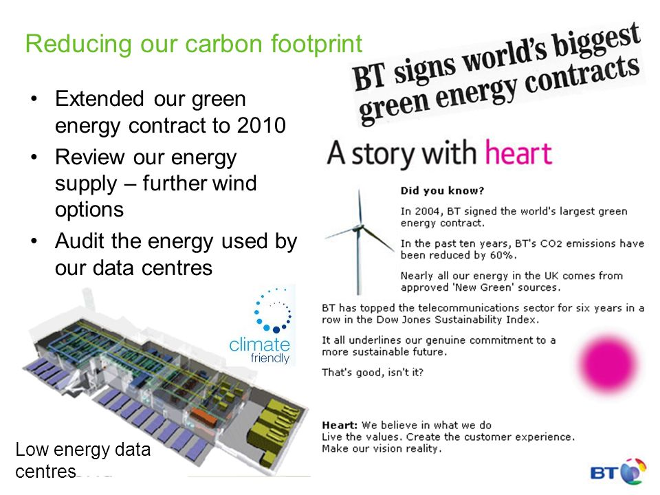 Reducing our carbon footprint Extended our green energy contract to 2010 Review our energy supply – further wind options Audit the energy used by our data centres Low energy data centres