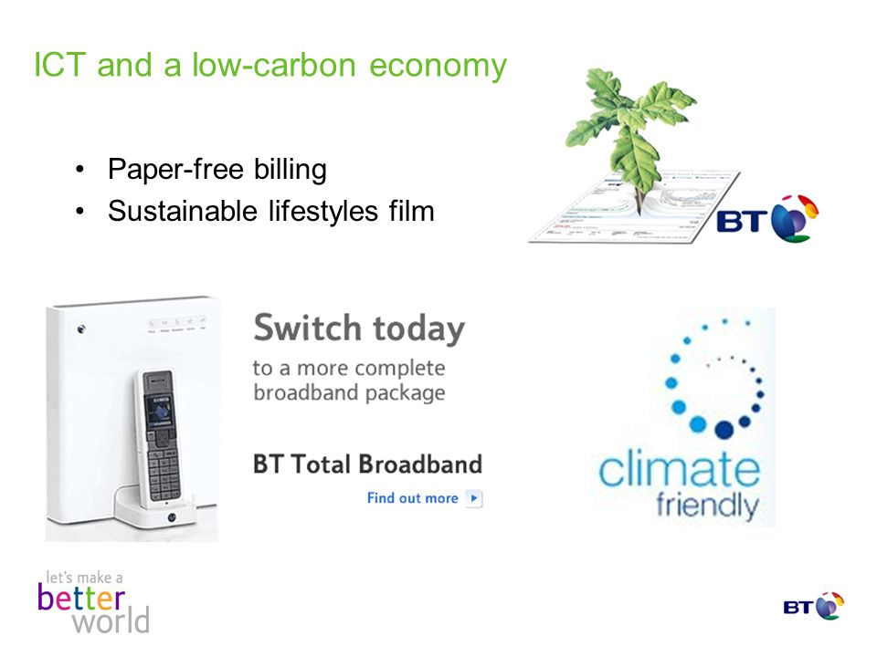 ICT and a low-carbon economy Paper-free billing Sustainable lifestyles film