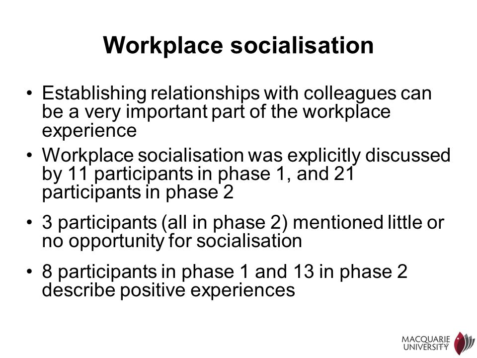 22 Workplace socialisation Establishing relationships with colleagues can be a very important part of the workplace experience Workplace socialisation