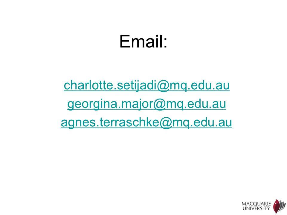 27 Email: charlotte.setijadi@mq.edu.au georgina.major@mq.edu.au agnes.terraschke@mq.edu.au